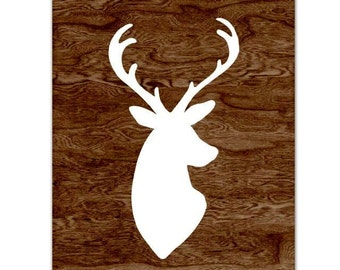 White Deer Head Silhouette Art Print with Dark Brown Woodgrain Faux Bois Background  -  8 x 10 - My Deer