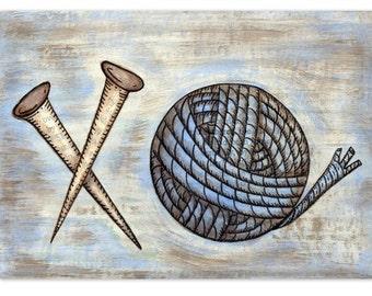 Ball of Yarn and Knitting Needles 5x7 Mixed Media Reproduction Art Print - Hugs and Kisses XO