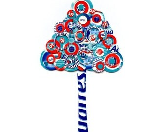 Full Circle Tree - Red, White and Blue Toothpaste Box Tree -  5x7 Collage Reproduction Pop Art Print - Bathroom Decor Geekery