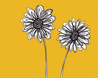 Quick Draw - Two Black and White Daisies with Bright Yellow Background Flower Art Print - 5x5 - Home Decor