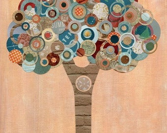 Full Circle Tree -  Peach, Turquoise, Brown, Blue and Cream Upcycled Circle Tree - 8x10 Collage  Art Print - Harmony