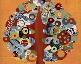 Full Circle Tree - Bountiful - 8x10 Collage Reproduction Print- Orange, Red, Blue