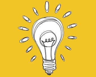 Bright yellow - Lightbulb Illustration Print  5x5  - Let there be Light