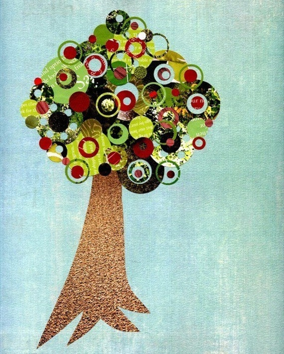 Full Circle Tree - Fruitful - Apple Tree Print - 8x10 Collage Reproduction Art Print - Blue, Green, Red and Brown