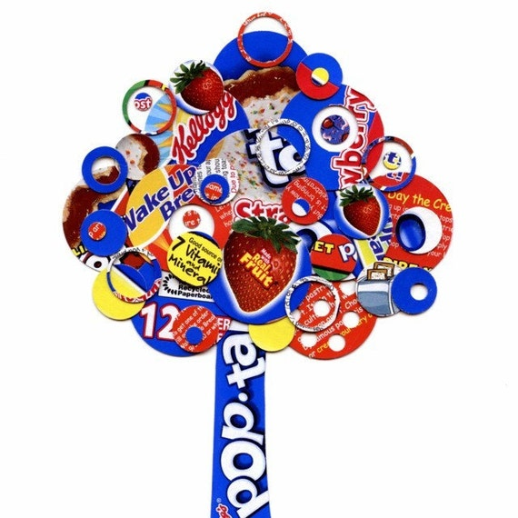 Full Circle Tree -Red, Blue, white and Yellow Strawberry Pop-Tart Tree Collage Art Print - 5x7 - Breakfast Club No. 1