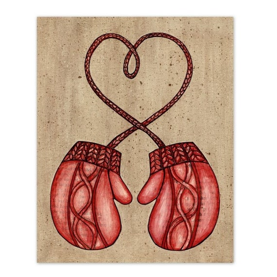 Red Knit Mittens  8x10 Mixed Media Reproduction Wall Art Print - Heart Strings - Smitten