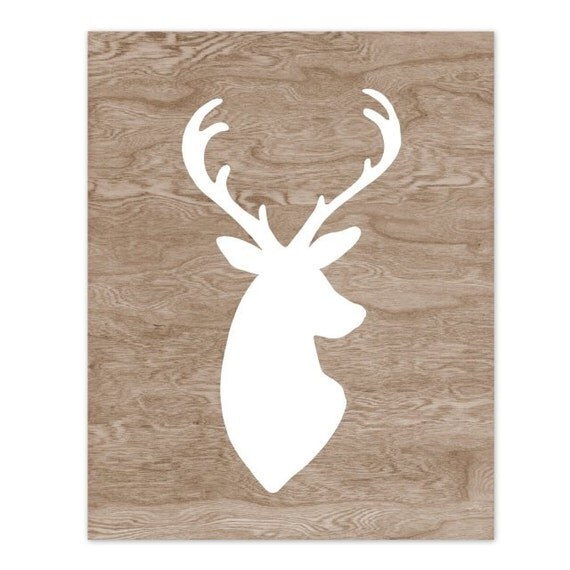 Woodgrain Faux Bois White Deer Head Silhouette Art Print  -  8 x 10 - My Deer
