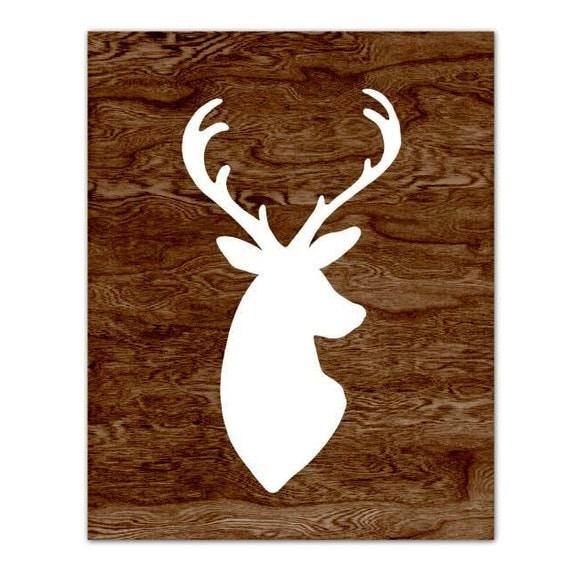 White deer head silhouette art print with dark brown woodgrain faux
