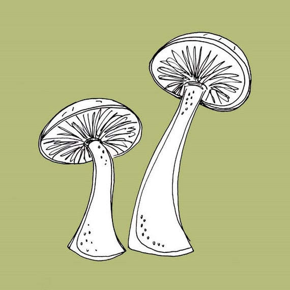 Two Sage Green Mushrooms  5x5 Digital Art Print - Best of Friends