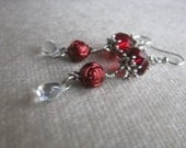 Red Roses crystal charming EARRINGS