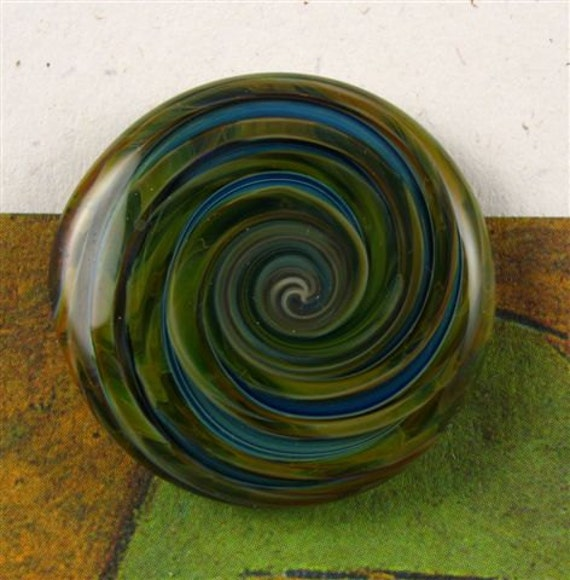 Green/Blue Lampwork Glass Button with Self Shank