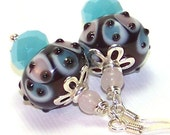 Baby Pink, Blue and Black Handmade Lampwork Glass Mushroom Earrings