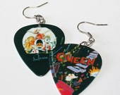 Queen Guitar Pick Earrings Featuring Two Album Covers