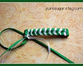 Awesome 80s Style Braided Barrette - 2 Ribbon - Green, White - St. Patrick's Day