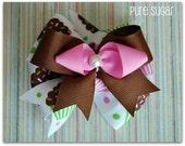 Birthday Girl Stacked Boutique Pinwheel Bow  - Cupcakes