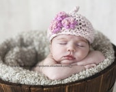 Baby KNITTING PATTERNS baby girl hat 'pixie three flower'
