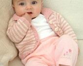 KNITTING PATTERNS - baby girl knit cardigan cotton - 'mini stripe'