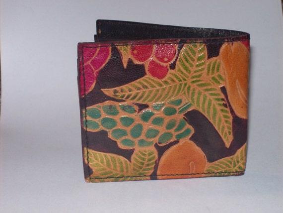 Vintage Leather Tooled Fruit Embossed Wallet Money Change Holder Billfold Made In Mexico