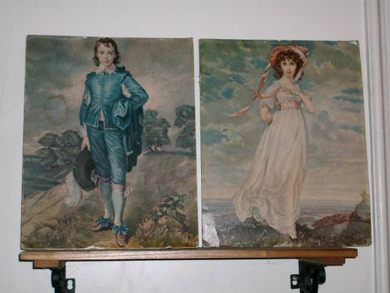 Vintage Pink Lady and Blue Boy Reproduction Prints