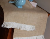 Burlap and Lace Shabby Chic Table Runner