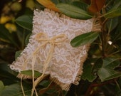 Burlap and Lace Ring Bearer Pillow with Extra Long Raffia Tie