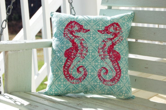 Preppy Coastal Sunset Pink Seahorse on Turquoise Pillow