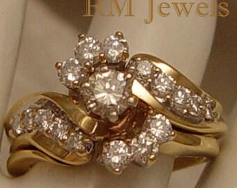 Interlocking Diamonds 14Kt Gold Wedding Set - Estate