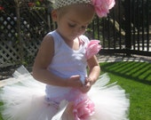 Precious Pink and Ivory Tutu with Satin Bow, Pink Rose Clip AND matching Rose Headband