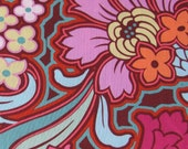 Amy Butler Fabric- cotton, designer, yardage, floral- Soul Blossoms Disco Flower in Chocolate- 1 yard