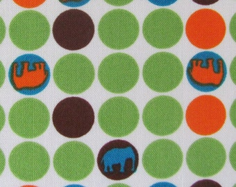 Robert Kaufman Fabric- Urban Circus Dots with Elephants in Earth