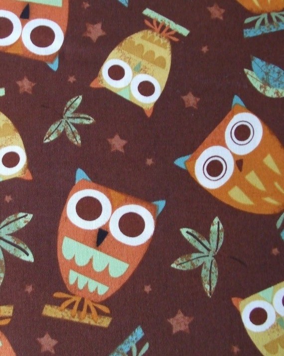 Fabric- Robert Kaufman On A Whim Owls in Earth- 1 yard