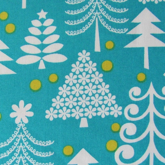 FAT QUARTER- Christmas Fabric- Michael Miller Holiday Trees in Turquoise