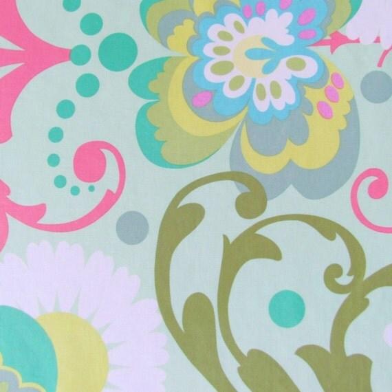 Laminated Fabric- Amy Butler Paradise Garden Fabric in Mint- 1 yard