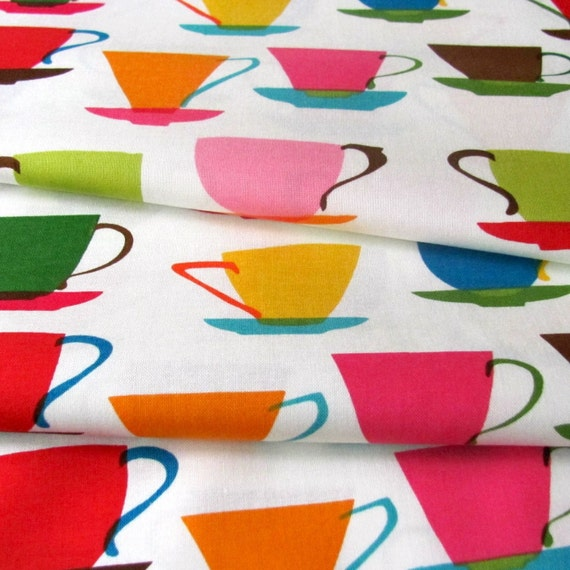 Fabric- LAST PIECE- Robert Kaufman Metro Cafe Cups in Garden- 1 yard plus 15 inches
