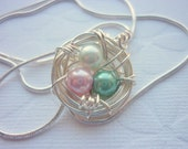 Birds Nest Necklace Personalized Bird Nest Sterling Pendant Wire Wrapped Pearls