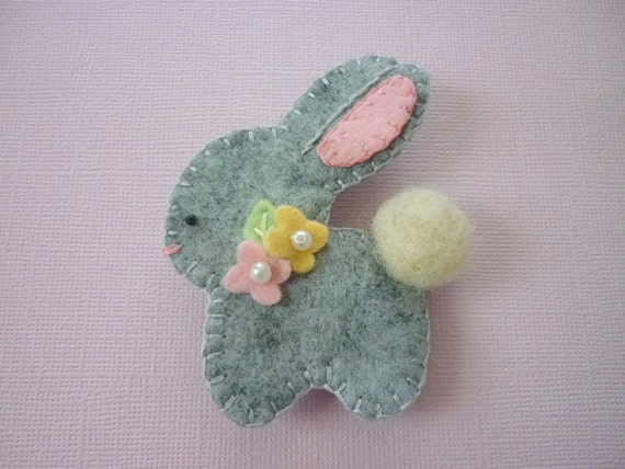 Felt  Bunny Brooch Felt Spring Baby Rabbit Felted Wool
