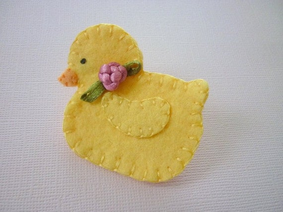 Easter Brooch Felt Yellow Duck Bead Spring Flowers