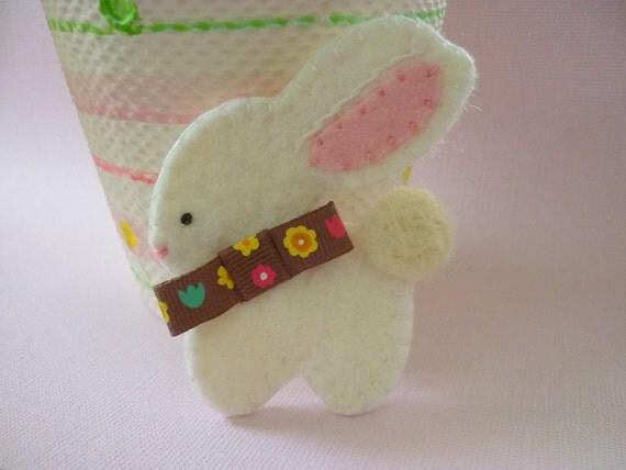 Easter Bunny Felt Brooch Wool Spring  Boy Bunny