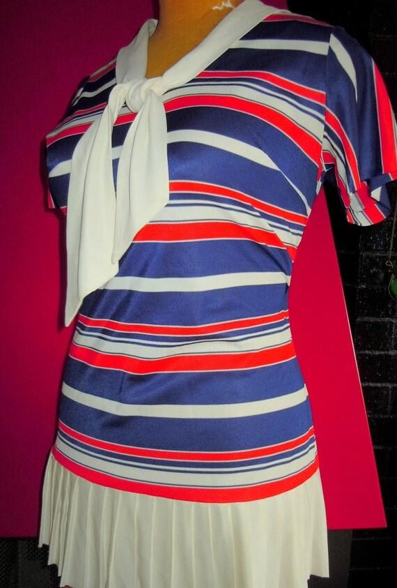 Cutie Pie Vintage PATRIOTIC MOD 1960's Sailor Striped Mini Dress Size S/M