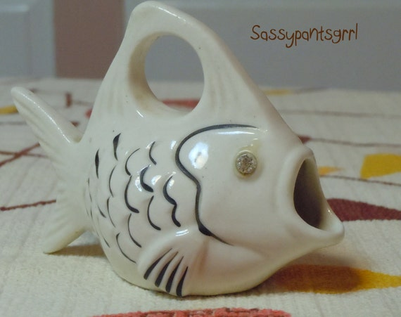 Vintage 1950s - 1960s Ceramic Fish Mini Pitcher -- Vintage Retro Home Decor