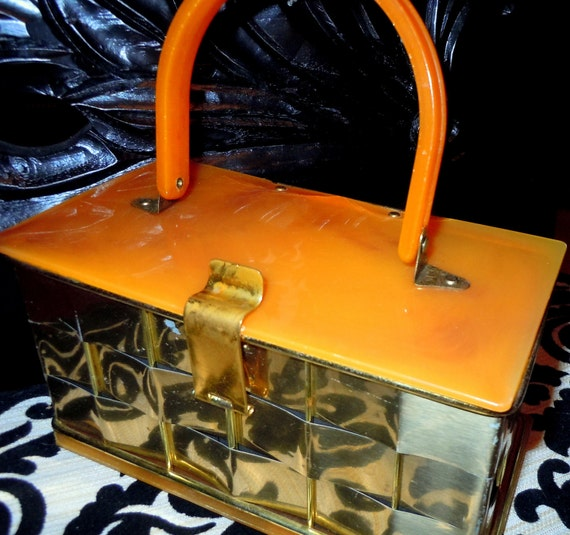 SALE Vintage 1950s Lucite and Metal Woven Box Purse -- Mad Men -  Rockabilly