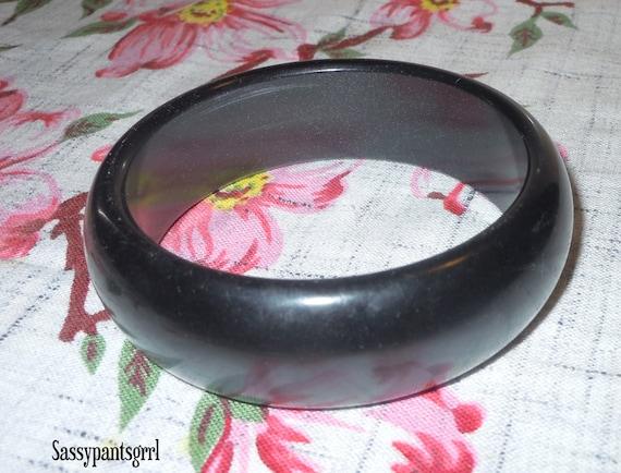 "SALE Vintage 1950s Black Lucite ""Moonglow"" Bangle Bracelet -  free shipping in U.S."