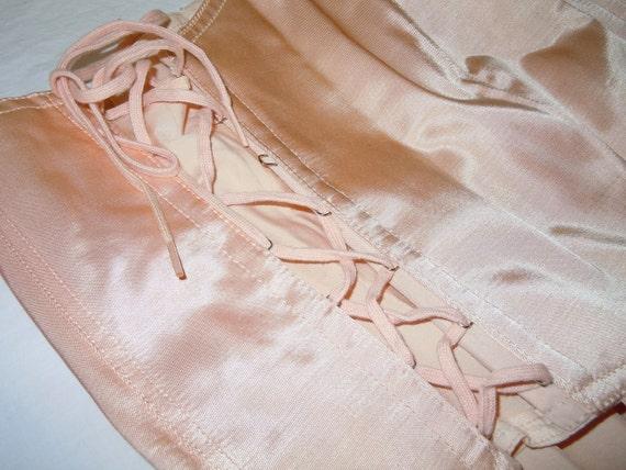 SALE Vintage 1940s 1950s SILK-SATIN  Blush Pink Corset Girdle --  Vintage Pin Up Lingerie Size 28