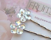 Flower Bobby Pins Rhinestone Crystal AB - Set of 2 - by Fruits of the Bloom on Etsy