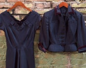 ON HOLD for Eileen Gregure//  Vintage 1940's DESIGNER Hannah Troy Navy Dress with matching jacket - Size Small