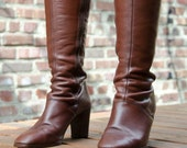 Vintage warm brown italian leather Bandolino knee-high boots, size 8.5