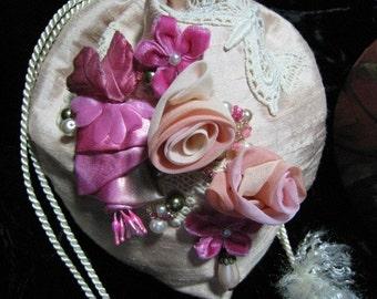Vintage Lace Florals Applique Silk Pearls Purse Handbag