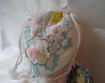 Vintage Lace Applique Beaded Floral Flapper Bridal Purse
