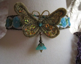 Vintage Embroidered Ribbon with Golden Butterfly Necklace Choker