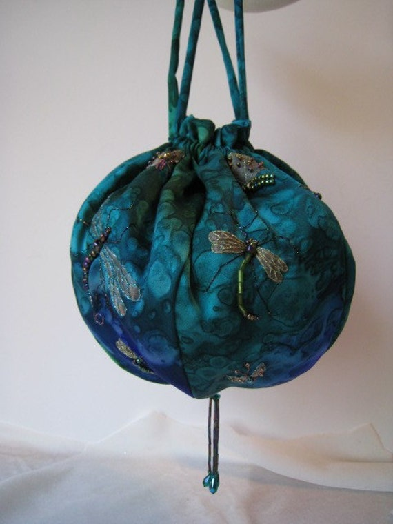 Embroidered Insects on Silk Charmeuse Drawstring Handbag